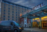 Airport shuttle bus outside Clayton Hotel Manchester Airport