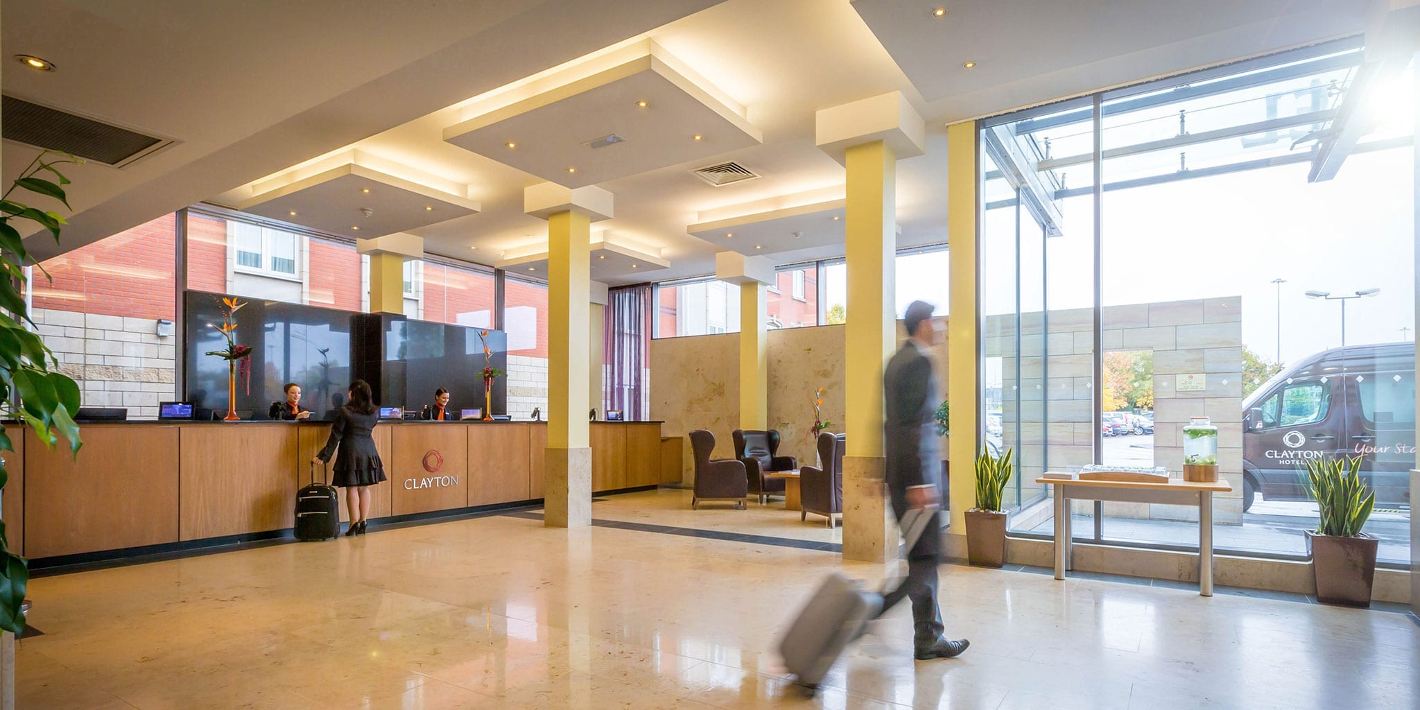 Guest checking in to Clayton Hotel Manchester Airport