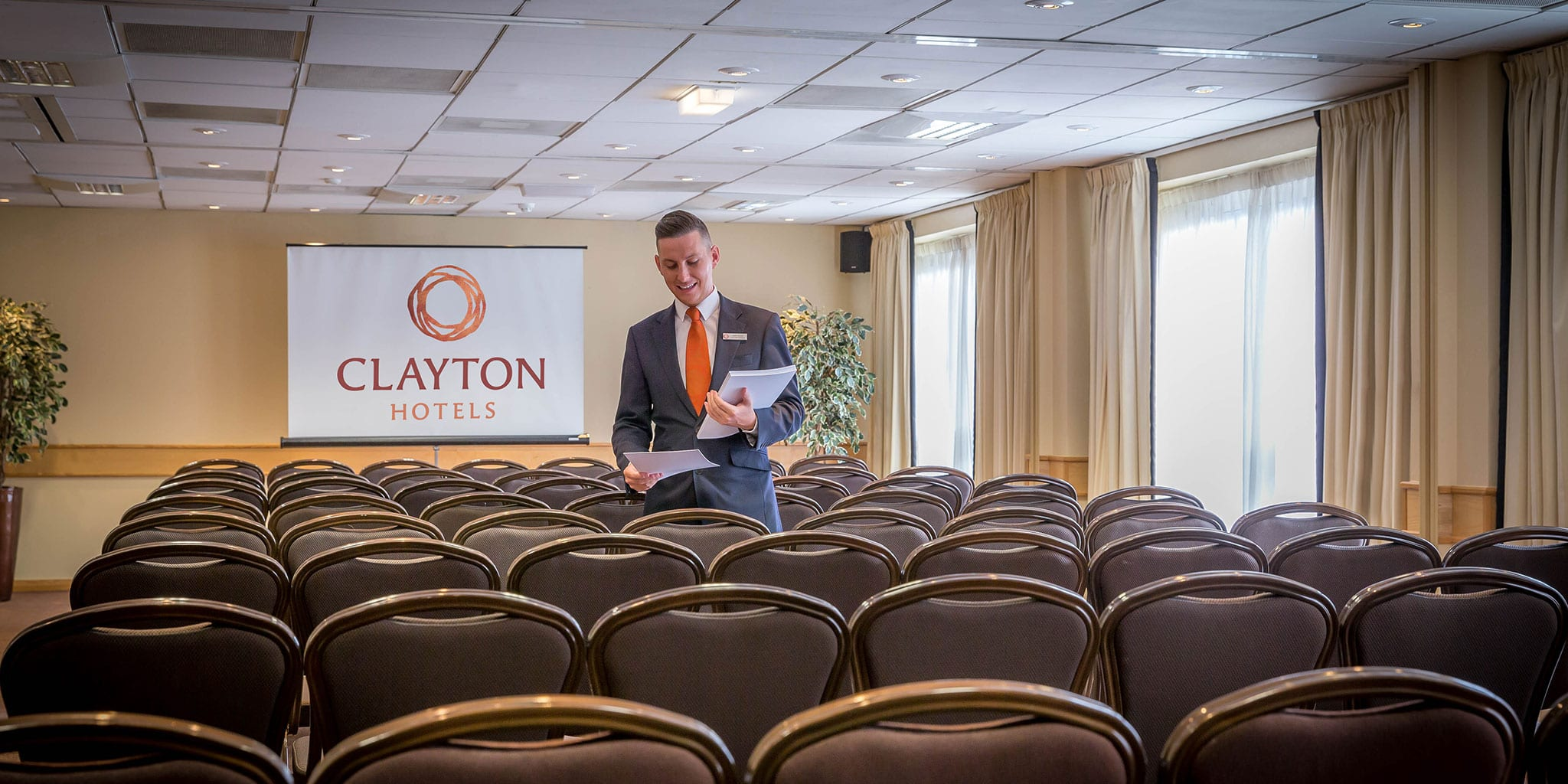 Meeting room setup theatre style Clayton Hotel Manchester Airport
